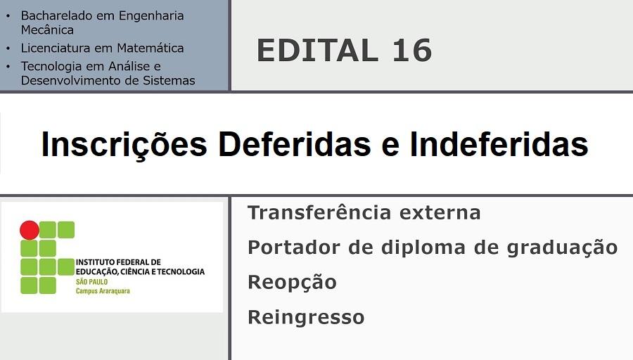 Edital Nº 016 - Inscrições Deferidas e Indeferidas