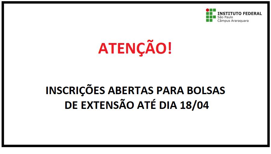 BOLSAS DE EXTENSÃO PARA ALUNOS DO IFSP