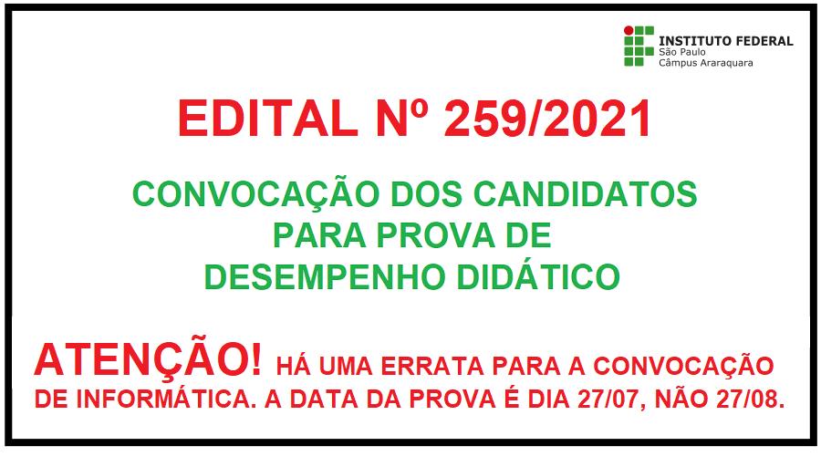 Edital Nº 259/2021 - Errata - Convocação p/ Prova