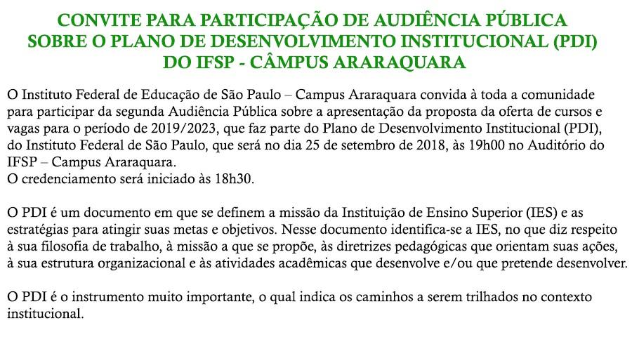 Convite para 2ª audiência pública sobre o PDI