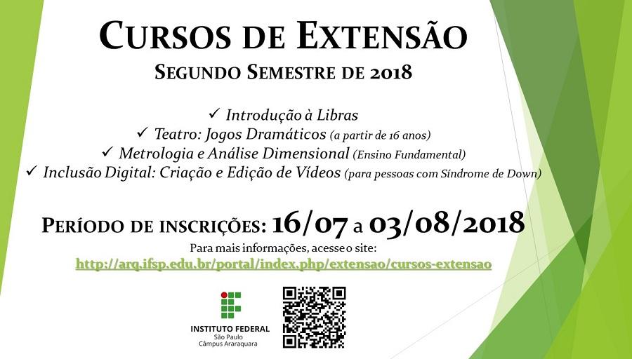 Cursos de Extensão - 2º Semestre de 2018