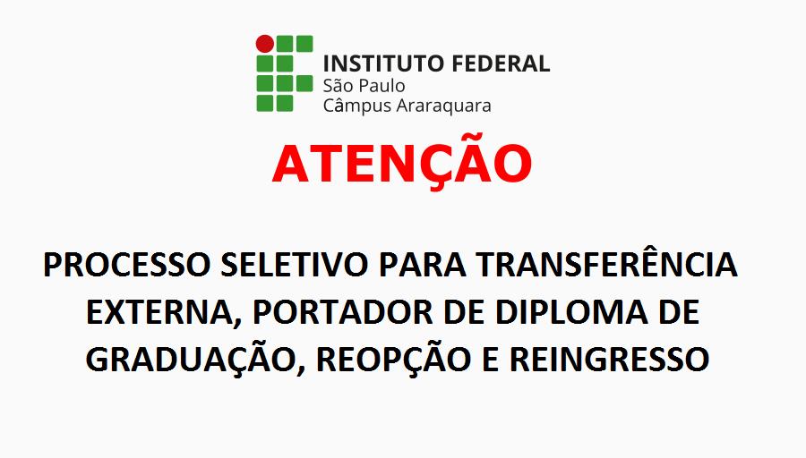Processo Seletivo 2019 para Transferência, Portador de Diploma, Reopção e Reingresso